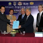 Backdrop for contract-signing ceremony of new Mukah Airport, 2014